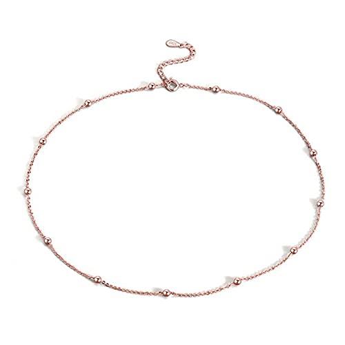 WQZYY&ASDCD Collar De Mujer Collar De Cadena De Cuentas De Plata Esterlina 925 Collar Redondo Minimalista Regalo Alta Joyería-N1Gold