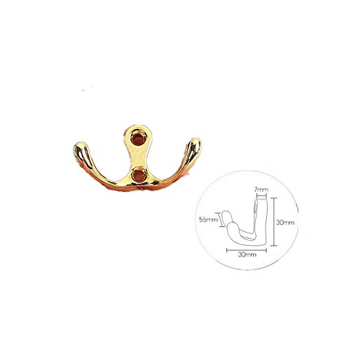 Heavy Duty Wall Mounted, Single Retro Coat Hook Wall Shoe Hook Free Punching Hook Bright Gold (2 Packs) High and Low Hook