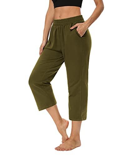 ZJCT Womens Capri Pants Loose Comfy Elastic Waist Lounge Yoga Sweatpants Crop Pants Wide Leg Capris for Women with Pockets Army Green M