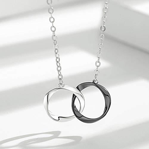 N\C S925 plata esterlina doble anillo collar moda simple creativo salvaje pareja estilo clavícula cadena mujer