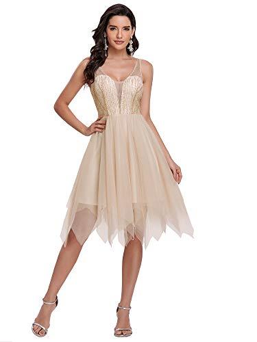Ever-Pretty Robe de Soirée Asymétrique en Tulle Femme Courte A-Line sans Manche Col en V Plongeant Scintillante Or 44