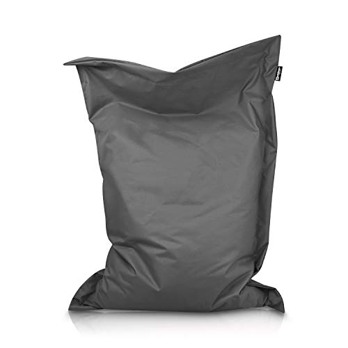 BuBiBag Sitzsack Beanbag rechteckige Bodenkissen 32 Farben & 11 Größen Indoor Outdoor Sitzsäcke RiesenBuBiBag Sitzsack Kindergarten Sitzkissen Schule Bean Bag (Anthrazit-100x70cm)