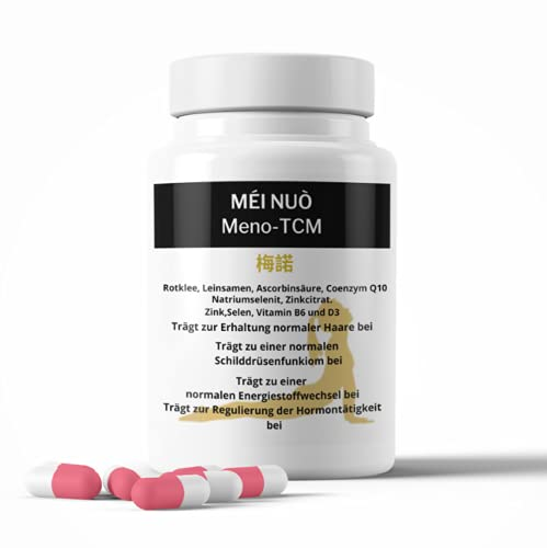 TCM-PHARMATRADE | Menobalance - 60 Kapseln pflanzlich & hormonfrei | Meno-TCM für die Wechseljahre - Menopause | Mit Rotklee, Leinsamen, Selen, Vitamin B6 & D3 | Made in Germany