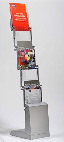 DISPLAY SALES Prospektständer faltbar 5 x DIN A4 mit Nylon Transporttasche | Falt-Katalogständer aus Alu und glasklarem Kunststoff