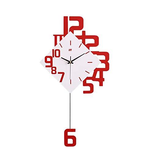 qwqqaq Pendolo Orologio da Parete Moderno, Stile Giapponese Legno Soggiorno Swing Orologio da Muro al Quarzo, Grande Quadrante Silenzioso Decorazione Domestica-Rosso 25x13inch(64x34cm)