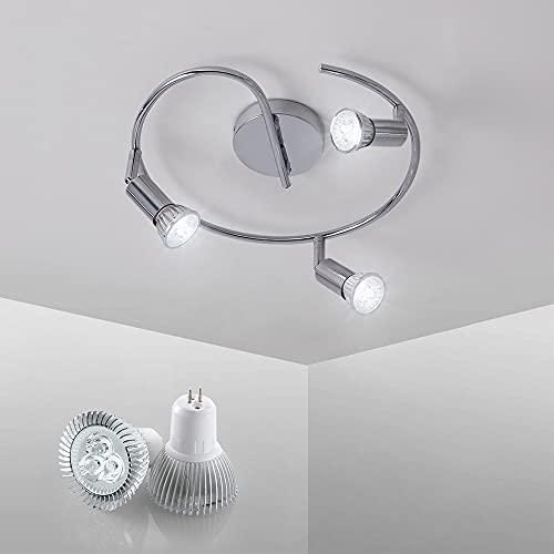 Lámpara de Techo LED 3 Focos, Plafón con Focos Giratorios y Orientables 3 x 3W Spot Bombillas GU10 Bajo Consumo IP20 230V, 6000K Blanco Frío
