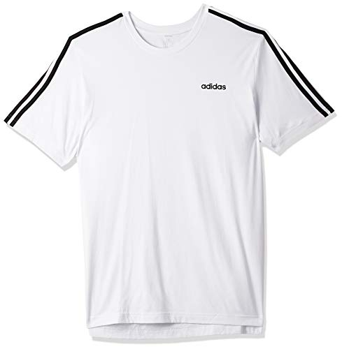adidas Essentials 3 Stripes T-Shirt T-Shirts, Uomo, White/Black, 2XL