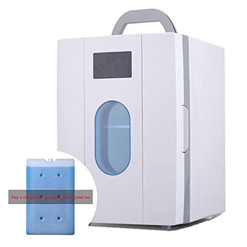 Mini Nevera, Refrigerador de 10 Litros/Enfriador y Calentador PequeñO Refrigerador PortáTil Ac/Dc Mini Refrigerador para AutomóVil y Hogar (Comprar Refrigerador Liberarse Cristales de Hielo Caja)