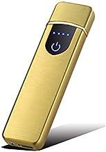 ガスもオイルも不要!風で消えない USB充電式ライター 薄型 キーホルダー式 ゴールド 軽量 プラズマ着火 電子ライター 父の日 誕生日プレゼントに!