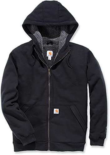 Carhartt Men's Rain Defender Rockland Sherpa Lined Hooded Sweatshirt, Black, Large