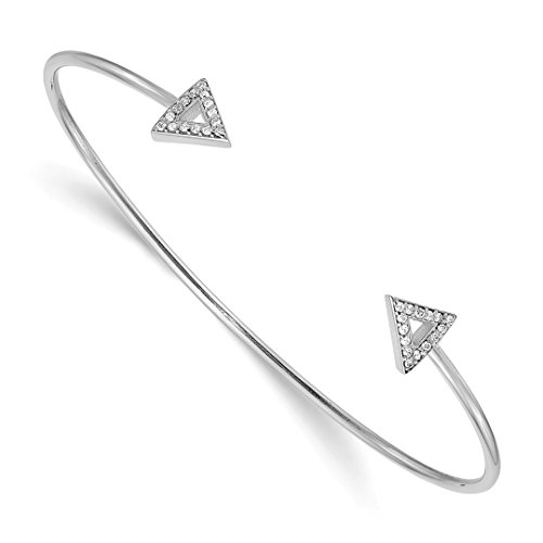 14k White Gold 7 Inch A Diamond Triangle Bangle Bracelet Cuff Expandable Stackable Contemporary Flexible Fine Jewelry For Women Gift Set