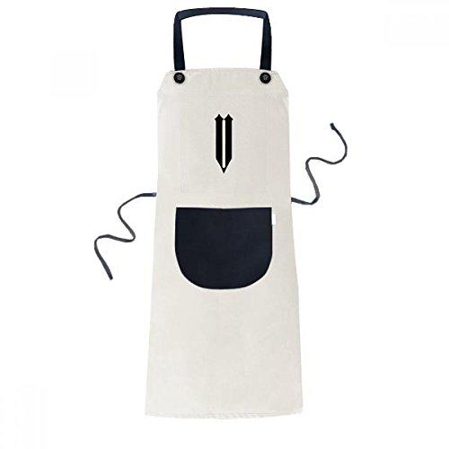 Romeinse cijfers Vijf In Zwart silhouet Koken Keuken Beige Verstelbare Bib Schort Pocket Vrouwen Mannen Chef Gift