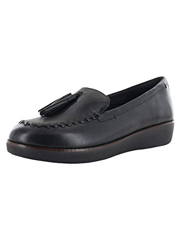 FitFlop Womens Petrina Moccasin Slip On Shoes, Black, US 6.5