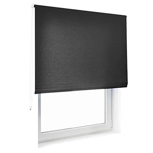 casa pura® Sichtschutzrollo - lichtdurchlässig - für breite Fenster in fünf Größen | Schwarz | 80x230cm