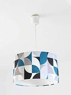 Lustre suspension plafonnier abat-jour motif géométrique rétro vintage scandinave bleu gris Luminaire diamètre personnalis...