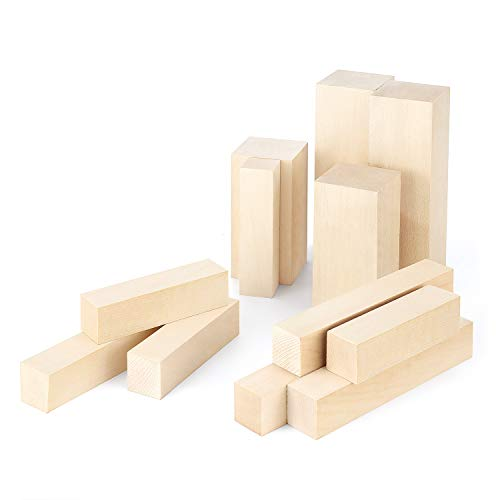 Magicfly 12 Stück Holzblöcke zum Schnitzen & Basteln, natürliches Lindenholz, Schnitzholz für Handwerk, DIY, Kunst