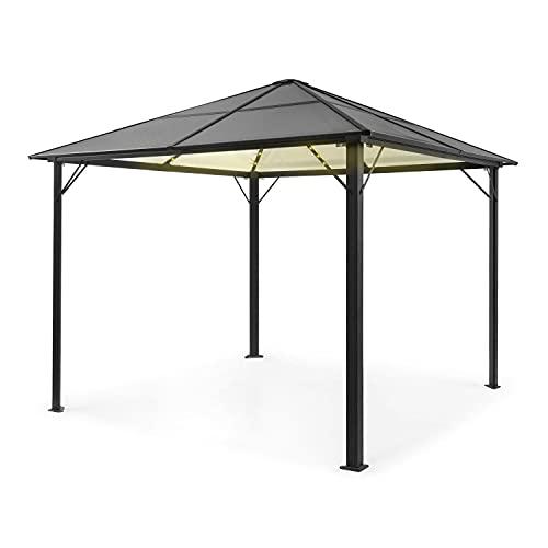blumfeldt Pantheon Solid Sky Ambient Solar Pavillon, Aluminiumkantrohr, 7,6 x 7,6 cm Eckpfosten mit 1,2 mm Materialdicke, Dach: 6mm Polycarbonat-Doppelstegplatten, Fläche: 3 x 3 m, getöntes Dach