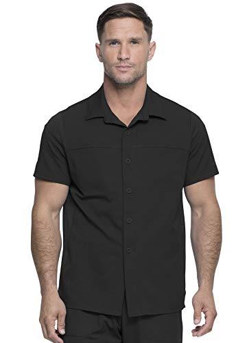 Dickies Dynamix Men Scrubs Top Button Front Collar DK820, L, Black