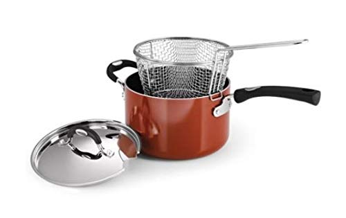 Made in USA Spice Red 4-Quart Tramontina Style 80106//561DS Porcelain Enamel Aluminum Nonstick Deep Fryer with Helper Handle