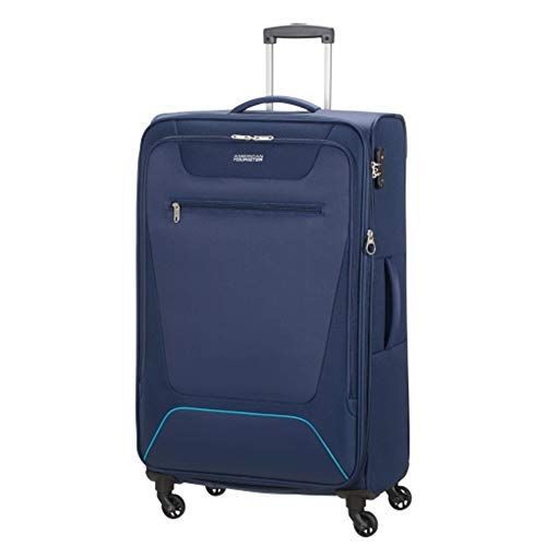 American Tourister Hyperbreez Trolley 4 Wheels Large Color Dark Blue Expandable