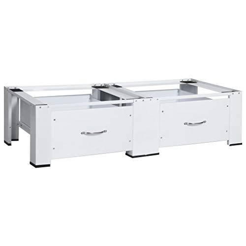 vidaXL Untergestell für Waschmaschinen Trockner mit Schubladen Rutschfesten Pads Doppeluntergestell Sockel Unterbau Gestell Podest Erhöhung Weiß