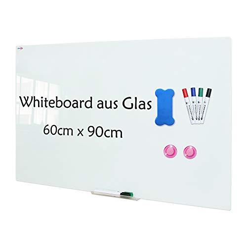 XIWODE Pizarra magnética de cristal de seguridad, pizarra blanca, pizarra magnética, pizarra blanca para escribir y magnética, sin marco, con cristal de seguridad, 90 x 60 cm