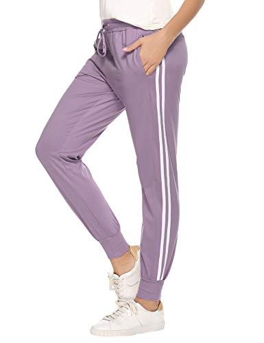 Aibrou Pantalon Chandal Mujer 100% Algodón Pantalones Deportivos para Mujer con Bolsillos, Pantalon Deporte Mujer Largos Verano para Gimnasio Deportes Correr Jogging