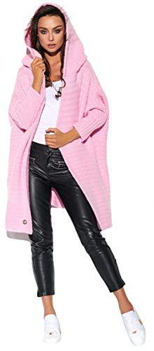 Lemoniade Zeitloser Cardigan mit großer Kapuze - Damen Jacke lang Mantel Strickmantel Strickjacke (20200157 LSG107 puderrosa)