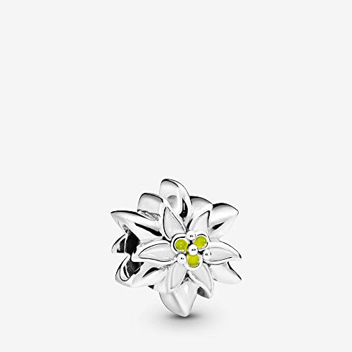 Edelweiss sterling silver charm with white and yellow enamel