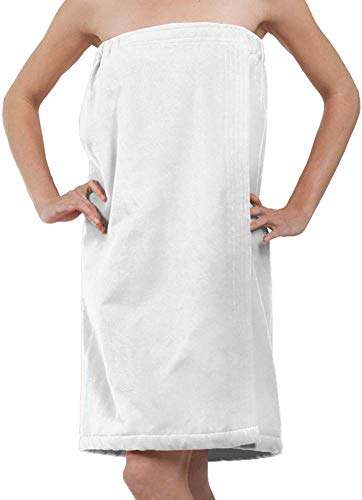 BY LORA Extra Large Terry Cotton Spa Wrap Towels for Women, Ladies Shower Towel Cover Up, White, 3XL 4XL Size