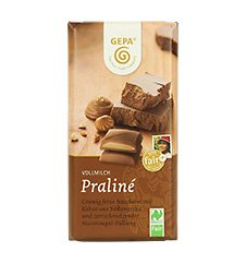GEPA Bio Tafel-Schokolade - 1 Karton (10 x 100g) Vollmilch Praliné