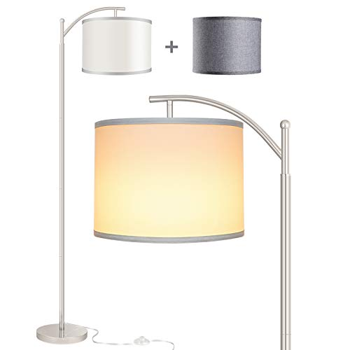Rottogoon Floor Lamp for Living Room, LED Standing Lamp with 2 Lamp Shades Tall Industrial Arc Floor Lamp Reading for Bedroom, Office, Study Room (9W LED Bulb, White & Gray Shades Included) - Silver