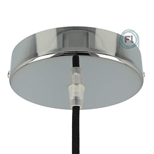 Baldachin | Abzweigdose | Verteilerdose zur Kabelabdeckung Ihrer Deckenlampe | Lampenkappe in chrom 1 Loch Ø 12 cm inkl Zugentlastung | Lampenbaldachin für alle Lampen geeignet
