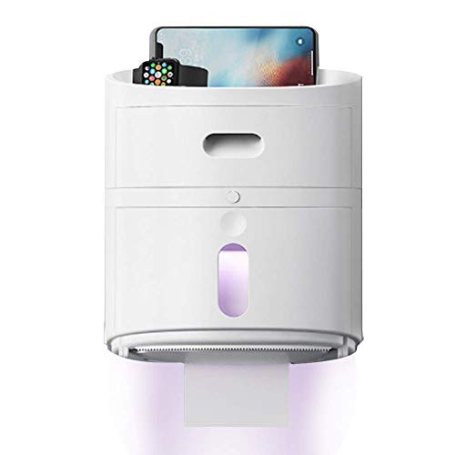 Toilet Roll Holder,UV Sterilization Tissue Box Fold Paper Towel Dispenser Phone Holder,Wall Mount Waterproof Dust Cover, Drawer Storage Box (Color : White, Size : Ultraviolet-light)