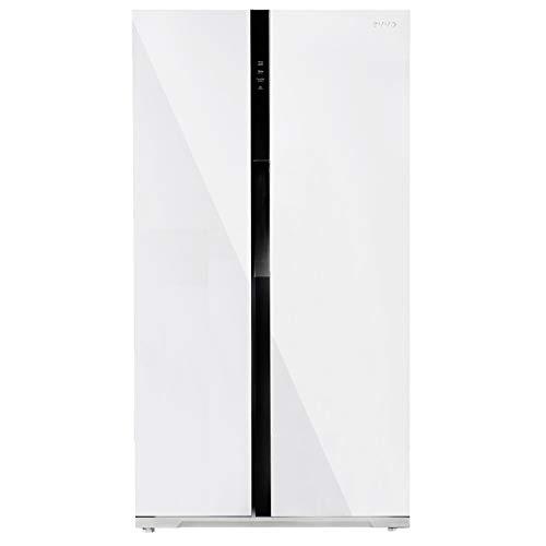 EVVO Frigorífico Frigorífico Americano F90 Glass - no Frost, Tecnología Inverter, Eficiencia A++, Color negro (Blanco)