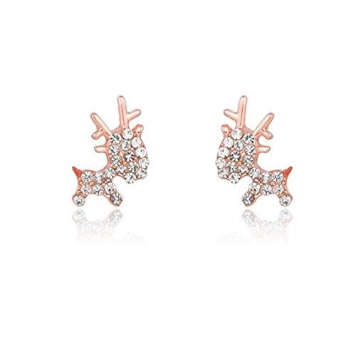 Brush Ohrstecker Weihnachtshirsch Ohrringe Einfaches kleines nettes süßes exquisites All-Match (Color : Pink)