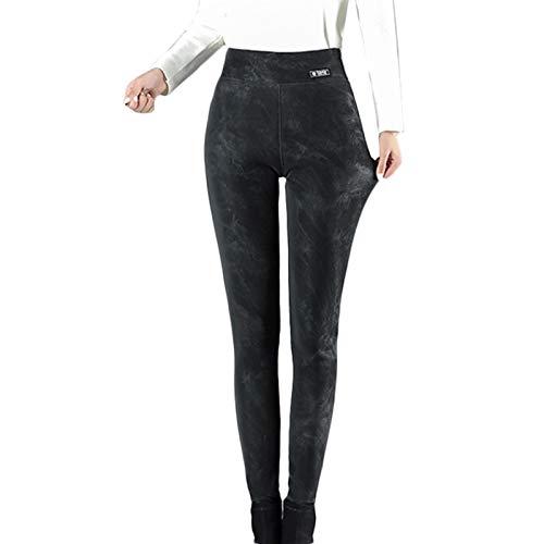 LBBL Pantalones Térmicos Gruesos Cálidos Cuero PU para Mujer Leggings Mujer Pantalones Cintura Alta Talla Grande Leggins Pantalones térmicos de Mujer (Color : Black, Size : XXX-Large)