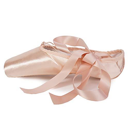 AOQUNFS Ballettschuhe Professionell Tanzschuhe mit Spitzenschoner und genähtes Band für Damen/Mädchen,TJ-Point Ballet,Rosa,EU 36