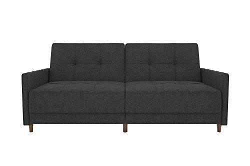 DHP Sprung Seat Sofa Bed, Wood, Grey Linen, UK