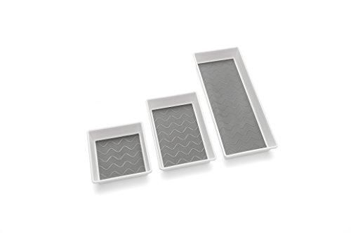 Addis, scatole porta oggetti, di alta qualità, con base morbida, per riordinare il cassetto, plastica, White/Grey, 18 x 40 x 7.5 cm
