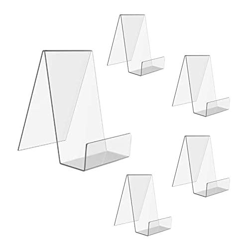 Kristy 5 unids acrílico claro libro soporte exhibición acrílico estantería para oficina, hogar y escuela, 100x115x145mm