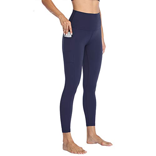 HIGHDAYS High Waisted Yoga Pants with Pockets for Women - Soft Tummy Control Stretchy Workout Leggings Navy Blue