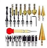 LINGSFIRE Juego de 26 brocas avellanadas, herramientas de perforación, incluye 8 herramientas de corte enchufes, 7 brocas de tres puntas, 6 brocas avellanadas, 3 brocas de cono para taladros de madera