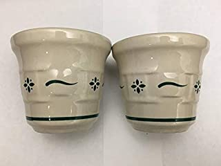Longaberger Pottery Woven Traditions Heritage Green Set of 2 Votives