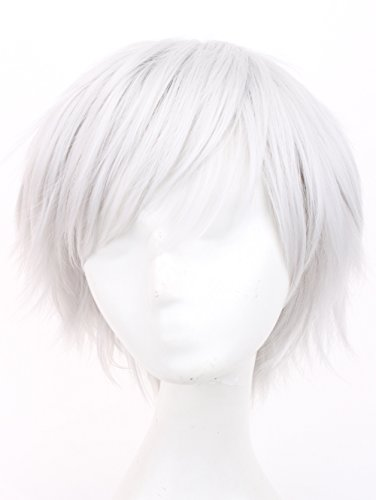 Simpleyourstyle Anime Cosplay Wigs White Red Black Brown Short Heat Resistant Synthetic Full Wigs for Men 30cm 11.8inch 150g (Silvery White)