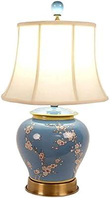 Fine Asianliving Lampe de Table Chinoise Lampes de Chevet Chinoise en Céramique Oriental Asiatique Jingdezhen Porcelaine Avec abat-jour E27 Oriental Mandarin Deco 227-104
