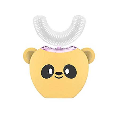 360 ° ultrasone U-vorm elektrische tandenborstel kinderen elektrische tandenborstel Cartoon oplaadbare waterdichte automatische whitening tandenborstel voor kinderen van 3-7 baby's van 8-16 jaar Kinderbereich geel