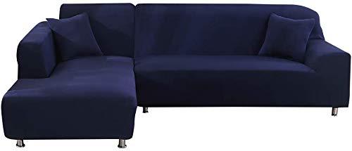 JIAN YA NA Canapé Extensible Covers Polyester Spandex Housse Polyester Tissu Stretch Slipcovers + 2pcs Oreiller Couvre pour Canapé en L Canapé (Bleu)
