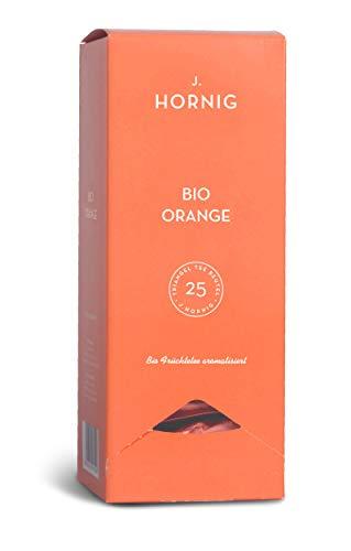J. Hornig Bio Orangentee, Premium Pyramidenbeutel, Früchtetee Orange mit Bio-Zertifikat, 25 Tee-Sachets, Filtermaterial 100% biologisch abbaubar