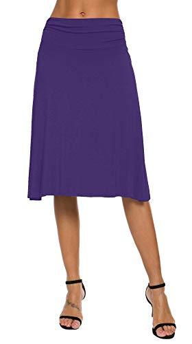 EXCHIC Falda de Yoga para Mujer con Mini Llamarada (S, Morado)